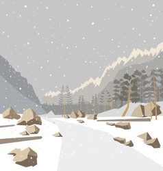 Mountain winter snow landscape vector
