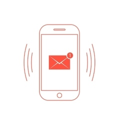 outline red smartphone with one email icon vector image vector image