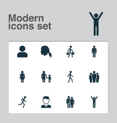 Person icons set collection of gentleman happy vector