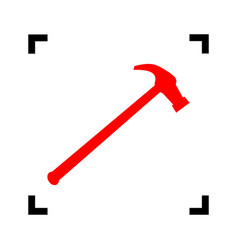 Saw simple icon red icon inside black vector