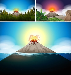 Scenes with volcano in forest and ocean vector image