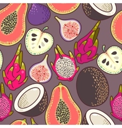 Seamless exotic fruit vector image vector image