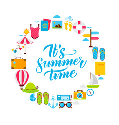 Summer time flat circle vector