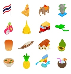 Thailand icons set isometric 3d style vector
