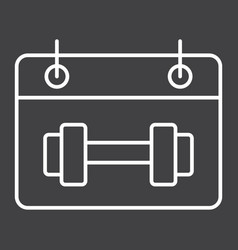 Training schedule line icon fitness and sport vector
