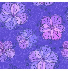 Violet doodle flowers seamless pattern vector image vector image