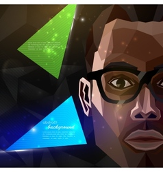with an african american man face in polygonal vector image