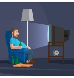 Cartoon man watching tv vector