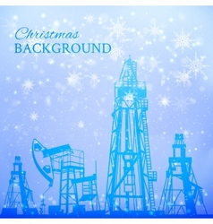 Oil rig and pump over snowfall vector