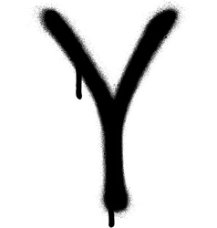 Sprayed y font graffiti with leak in black vector