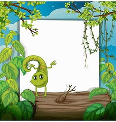 A dancing chameleon and a white board vector image