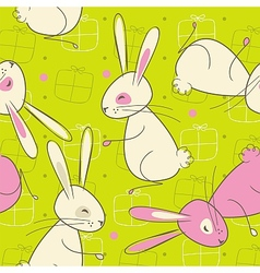 Seamless easter rabbit pattern vector