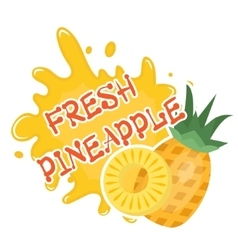 Fresh pineapple splash icon logo sticker Fruit vector image