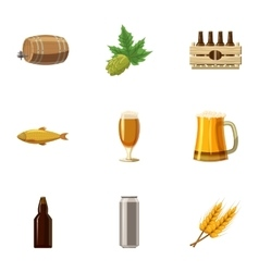 Folk festival of beer icons set cartoon style vector