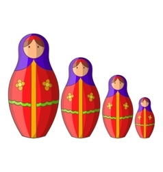 Russian tradition doll icon cartoon style vector