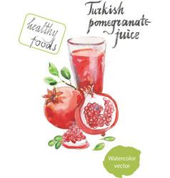 turkish pomegranate juice watercolor vector image