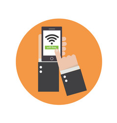 Business hands holding phone with wifi icon vector