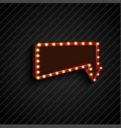 Retro arrow to down with shining blue background vector