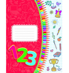 school notebook red in cage vector image