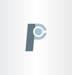 letter p character symbol design vector image
