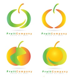 Colored fruit logo set vector