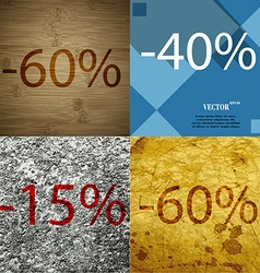 40 15 60 icon set of percent discount on abstract vector