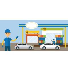 Cars in gas station and service attendant vector