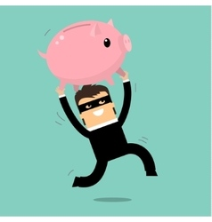 Thief stealing money vector