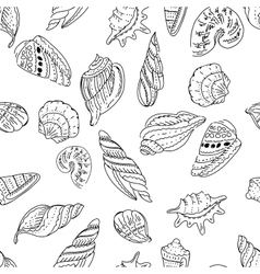 Seamless marine pattern with shells vector