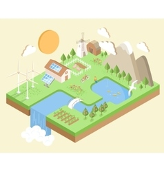 Isometric village country city eco green vector