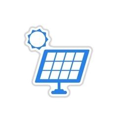Paper sticker on white background solar battery vector