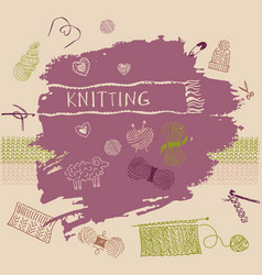 banner Crafts knitting and crochet vector image vector image