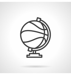 Basketball globe simple line icon vector image