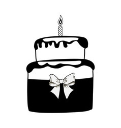 Birthday black cake on white background vector