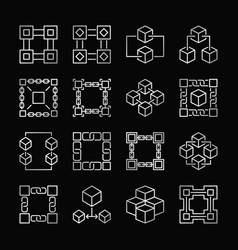 Block chain silver icons set of blockchain vector
