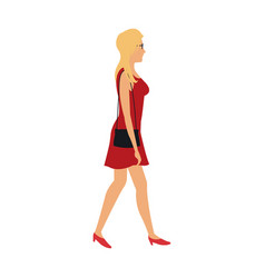 Blonde woman walking with red dress and purse bag vector