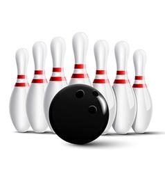 Bowling pins and bowling ball vector