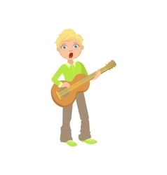 Boy in green shirt playing guitar and singing vector