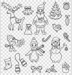 christmas characters on transparent backgrounds vector image vector image
