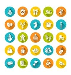 Christmas symbols flat icons set vector