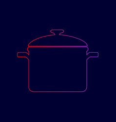 Cooking pan sign line icon with gradient vector