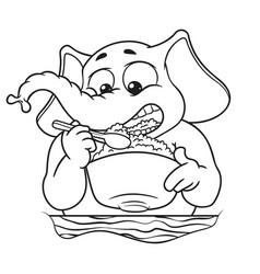 Elephant he eats porridge with a spoon vector