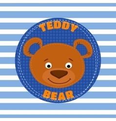 Face teddy bear brown vector