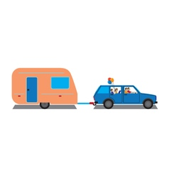 Family traveling by car with trailer vector