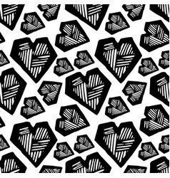 hand drawn heart seamless pattern vector image vector image