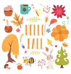 hello fall cute cartoon autumn set vector image vector image