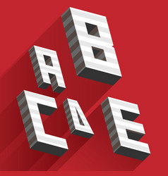 Isometric letters a b c d e drawn with stripes and vector