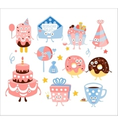 Kid Birthday Party Sweets And Attributes vector image vector image