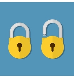 Lock open and lock closed vector image