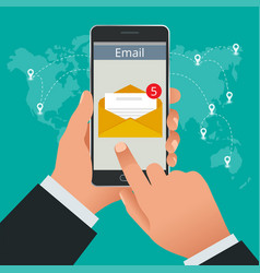 man received an e-mail online on a mobile phone vector image
